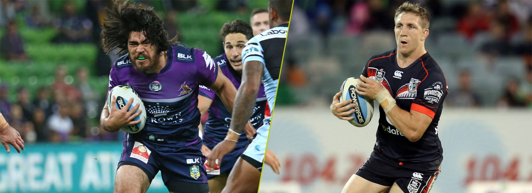 Storm back-rower Tohu Harris and the man whose position he's taken, Warriors recruit Ryan Hoffman.