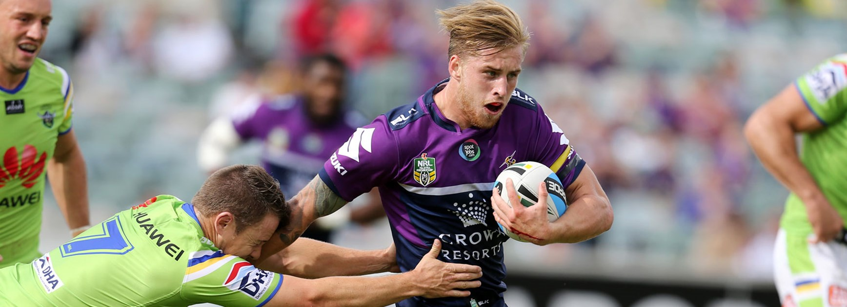 Cameron Munster in action for the Storm against the Raiders in Round 6.