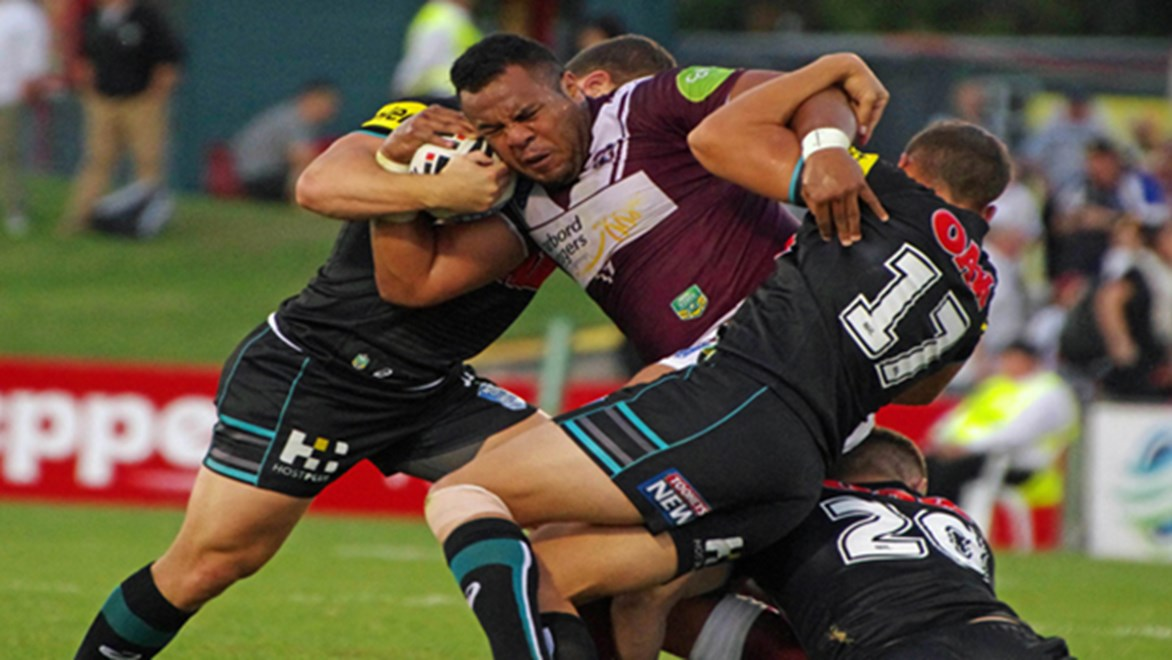 Siosaia Vave in action for Manly against Penrith in the VB NSW Cup.