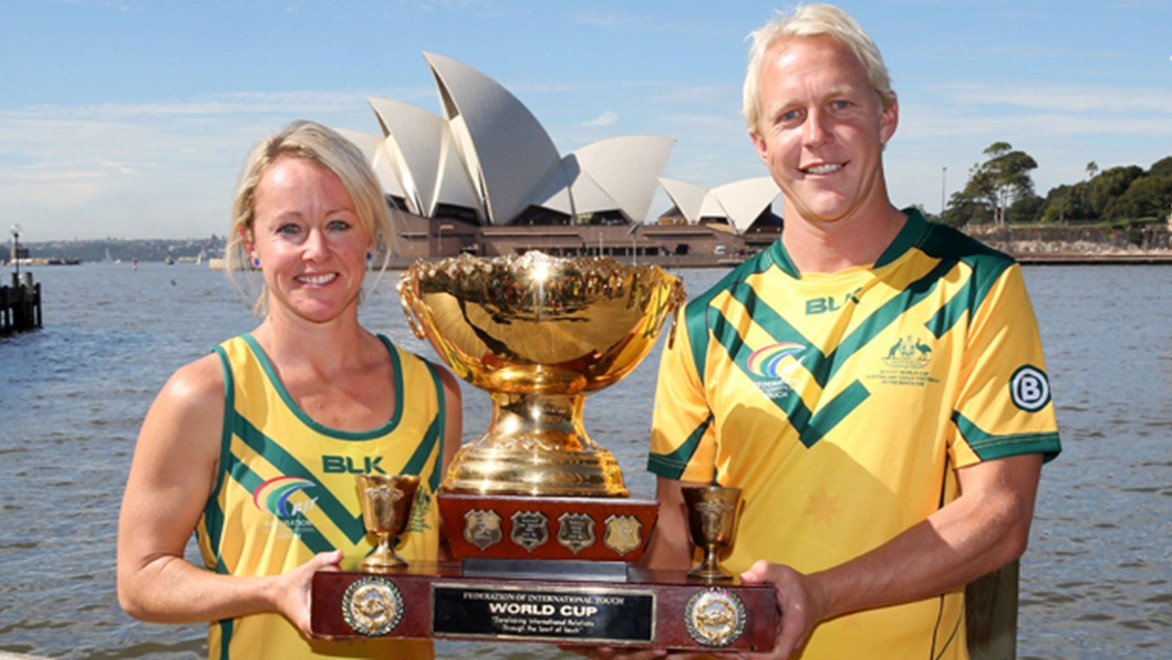 Louise Winchester and Steve Roberts at the launch of the 2015 Touch Football World Cup.