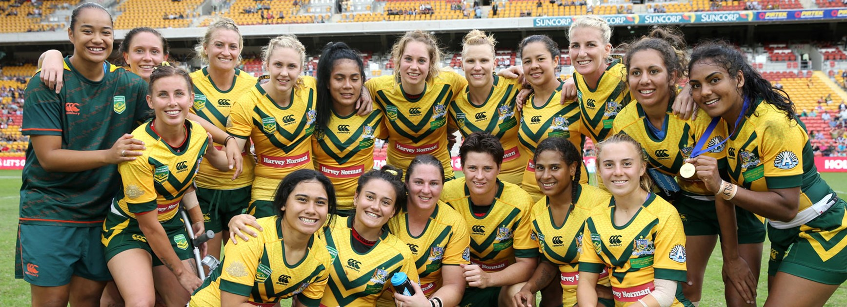 The Australian Jillaroos celebrate following their win over the Kiwi Ferns at Suncorp Stadium.