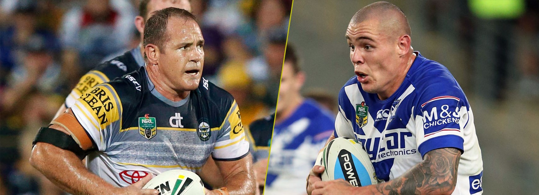 Kangaroos props Matt Scott and David Klemmer go head-to-head this weekend.