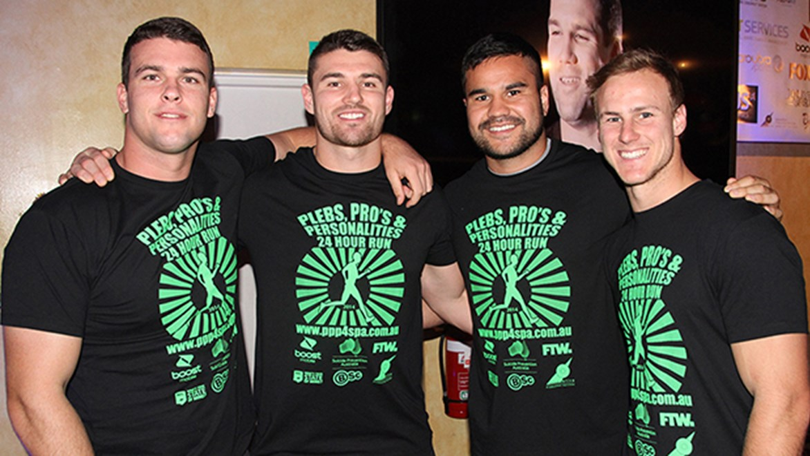 Darcy Lussick, Mitch Allgood, Justin Horo and Daly Cherry-Evans at the 2014 Suicide Prevention Run.
