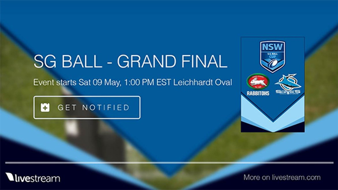 The SG Ball Grand Final between South Sydney and Cronulla will be live streamed on NRL.com