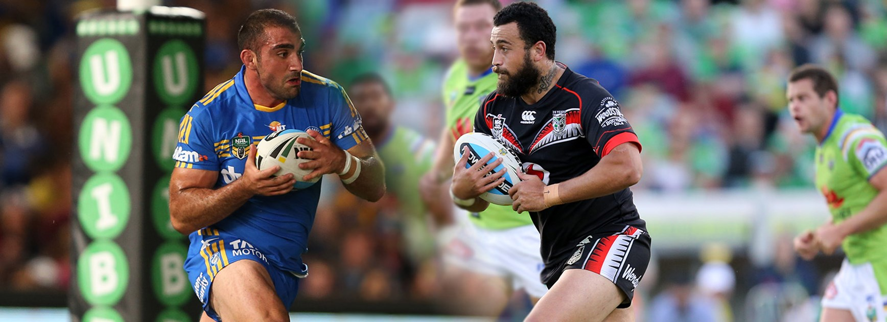 Forward battle: Parramatta's Tim Mannah will need to contain the Warriors Ben Matulino.