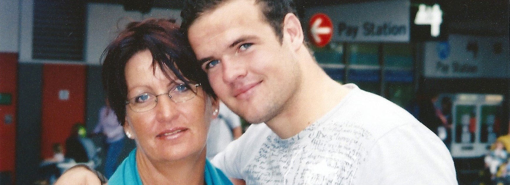Nate Myles with his mother, Janet Evans.