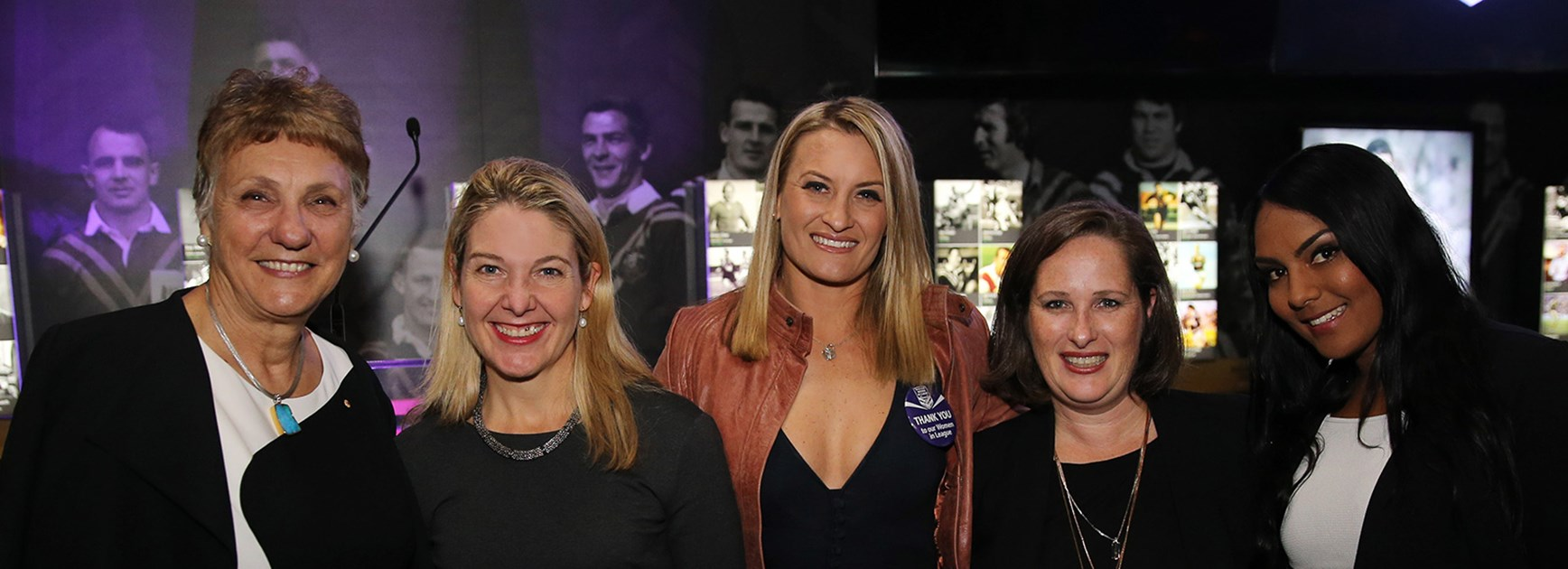 Catherine Harris, Suzanne Young, Ruan Sims, Stephanie Crockford and Mahalia Murphy at the Rugby League Museum.