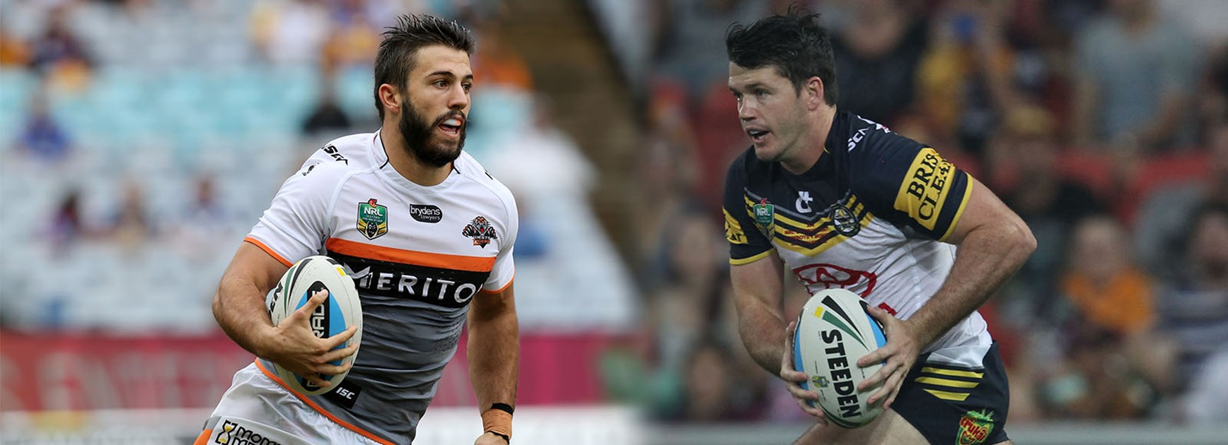 Excitement machines: Wests Tigers James Tedesco and North Queensland's Lachlan Coote.