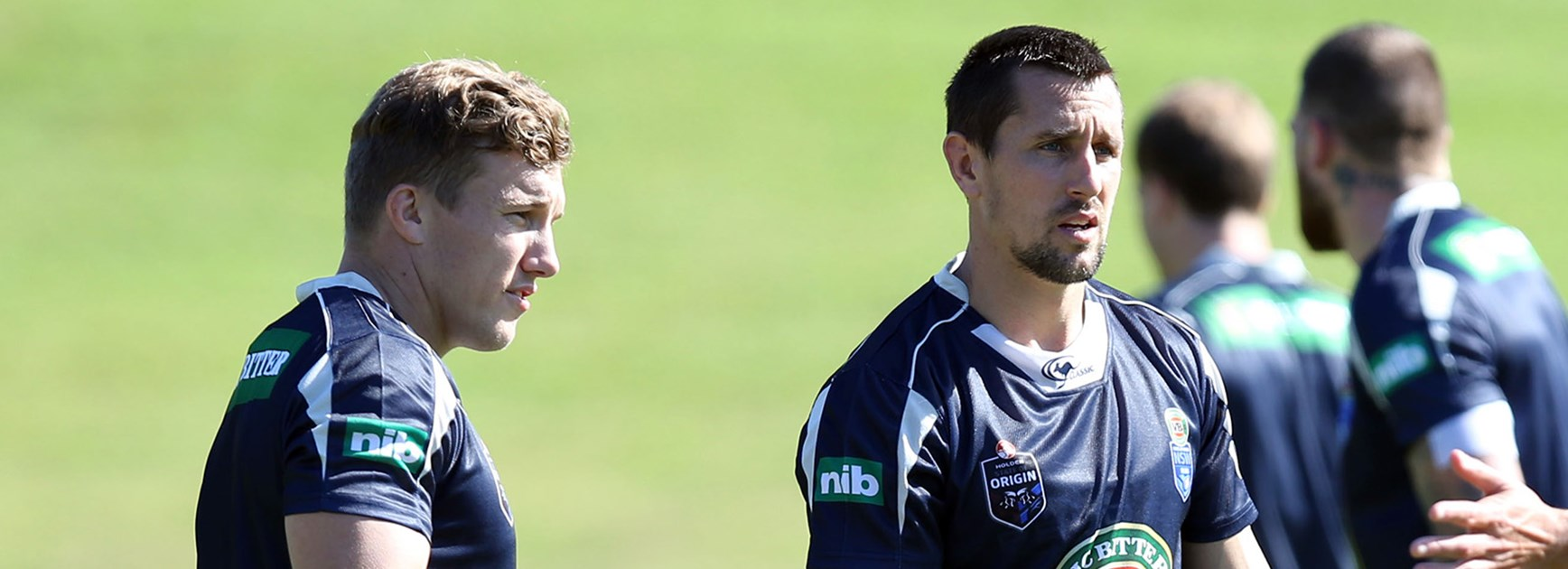 NSW Blues halves Trent Hodkinson and Mitchell Pearce plan their attack ahead of Holden State of Origin I.