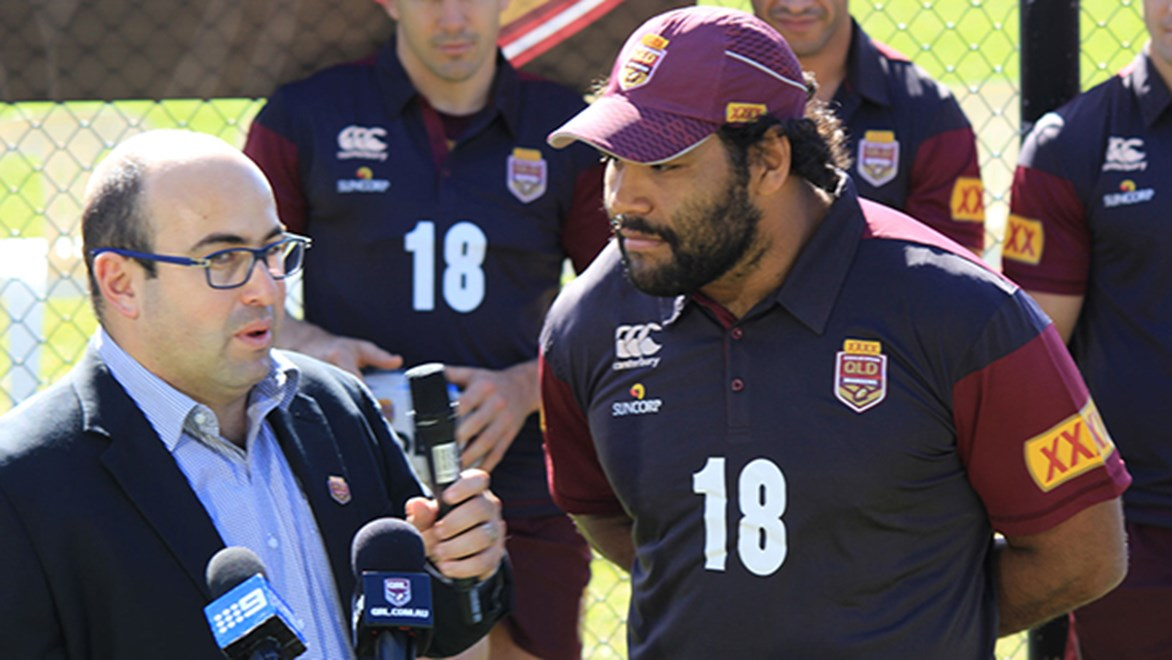 Maroons forward Sam Thaiday helped to launch Queensland's '18th Man' fan concept.