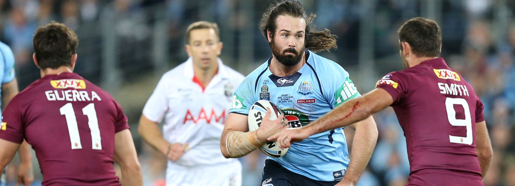 Blues prop Aaron Woods charges forward in Game One of the 2015 Holden State of Origin series.