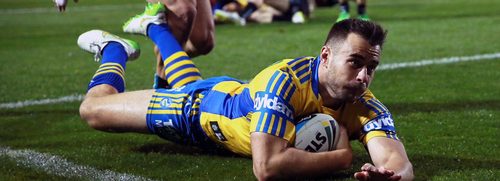 Parramatta winger Ryan Morgan scores for the Eels against the Panthers in Round 12.