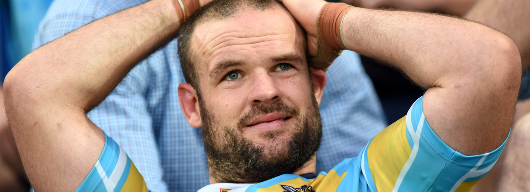 Nate Myles watches on during the Gold Coast's loss to South Sydney on Saturday.