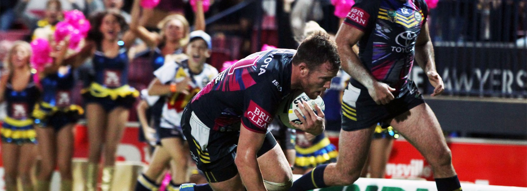 Gavin Cooper scores the match-winner for the Cowboys against Manly on Saturday night.