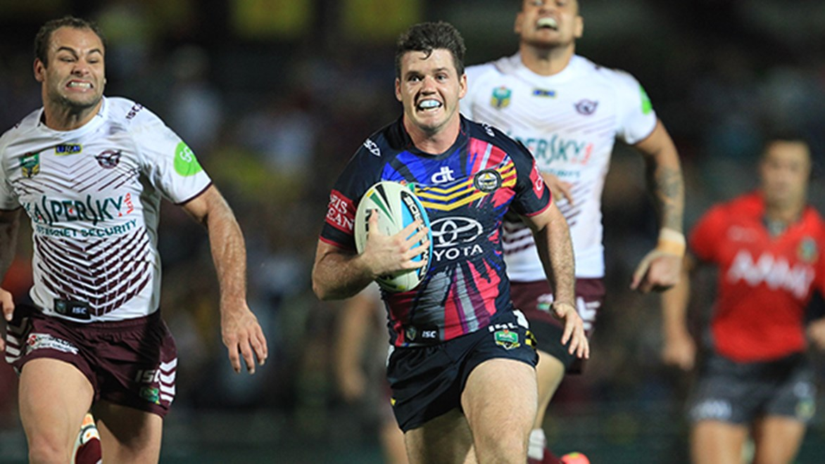 Cowboys fullback Lachlan Coote played a hand in his side's match-winning try against Manly.