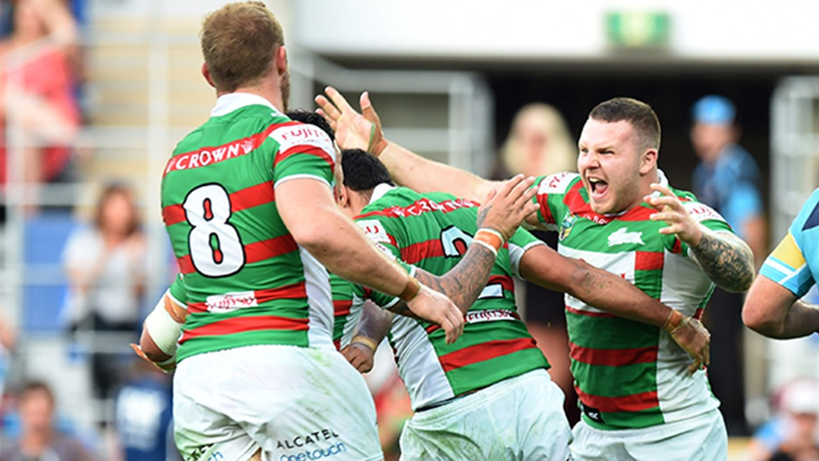 Rabbitohs recruit Nathan Brown, right, has made a positive impact for South Sydney.