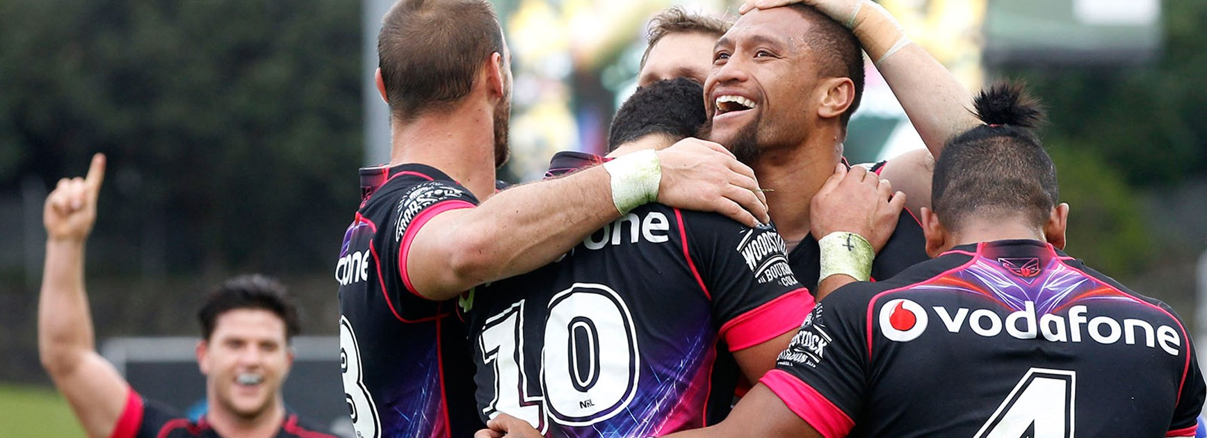 The Warriors celebrate Manu Vatuvei's try against Newcastle in Round 12.