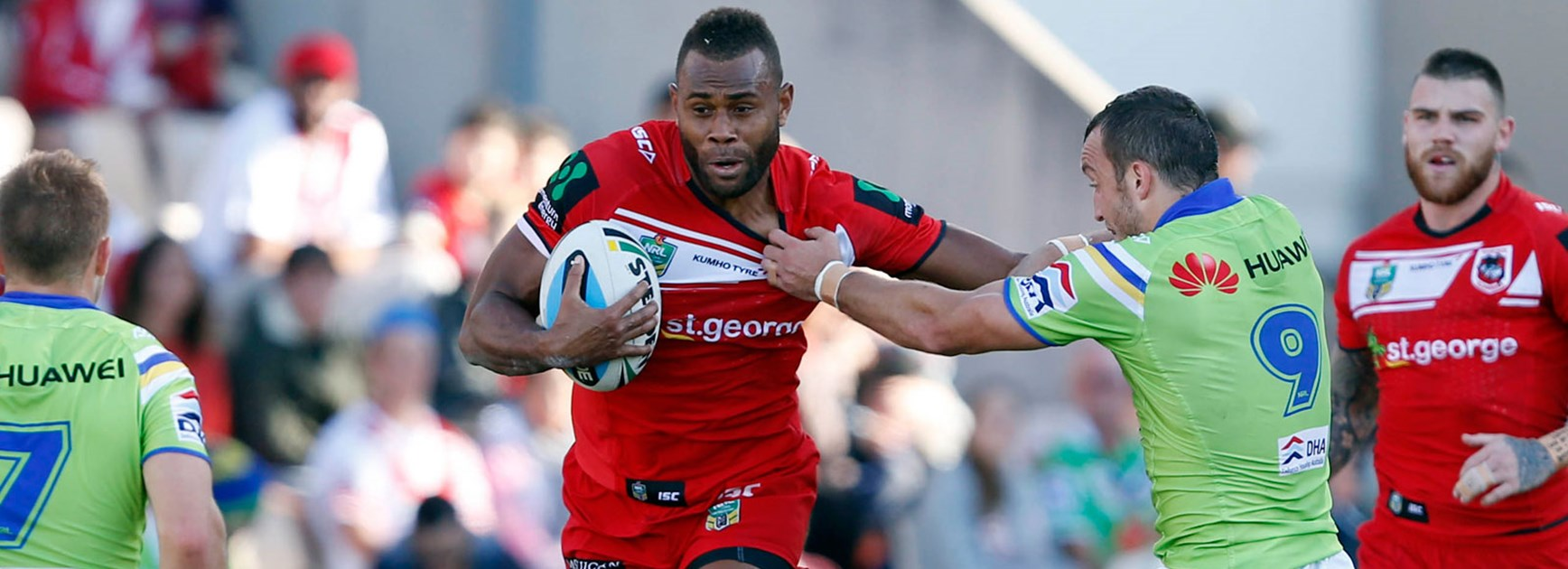 Dragons winger Eto Nabuli in action during his side's Round 10 win over the Raiders.