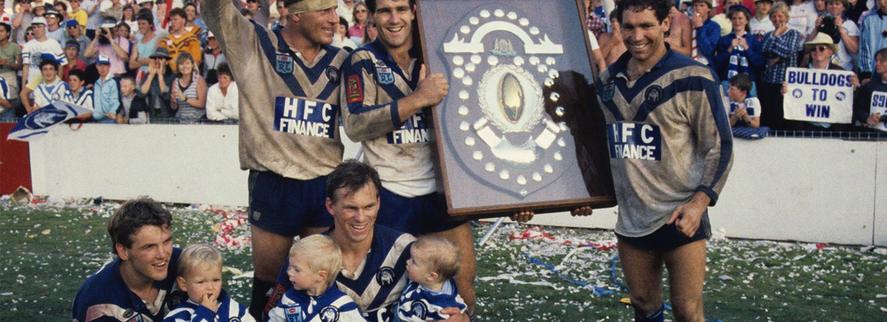 Bulldogs players celebrate their 1985 Grand Final victory.