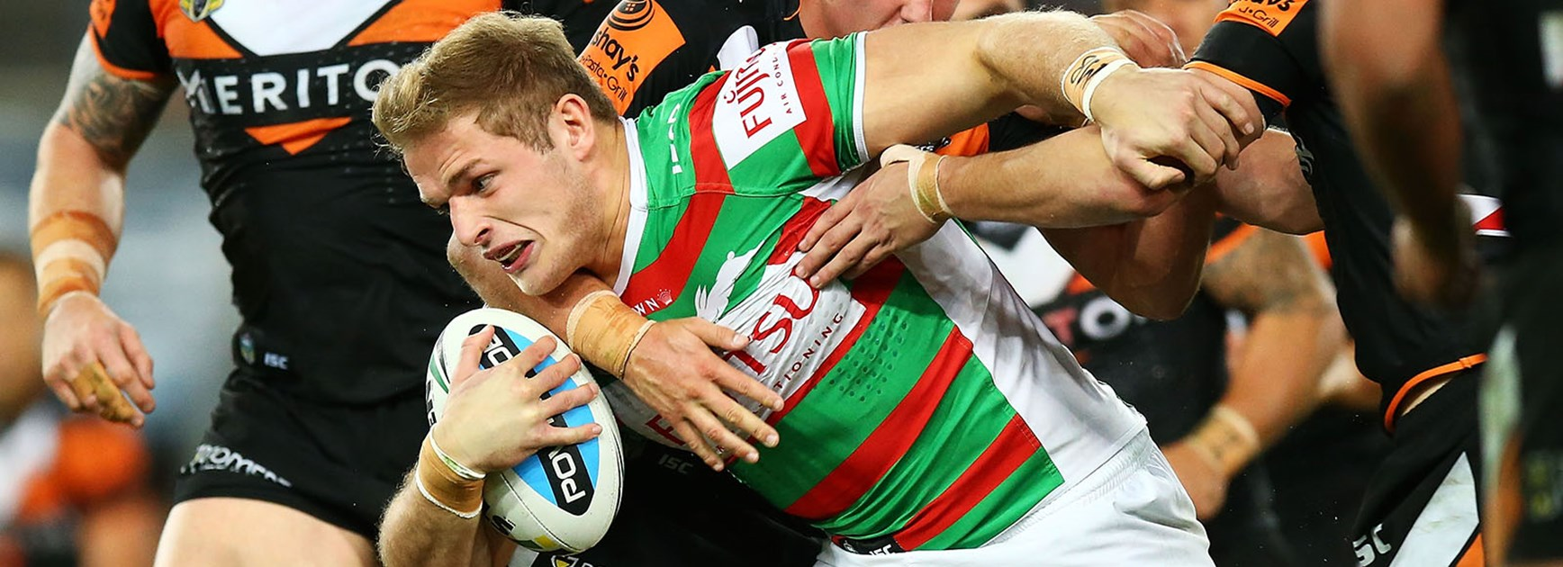 George Burgess makes a run during South Sydney's loss to the Wests Tigers at ANZ Stadium.