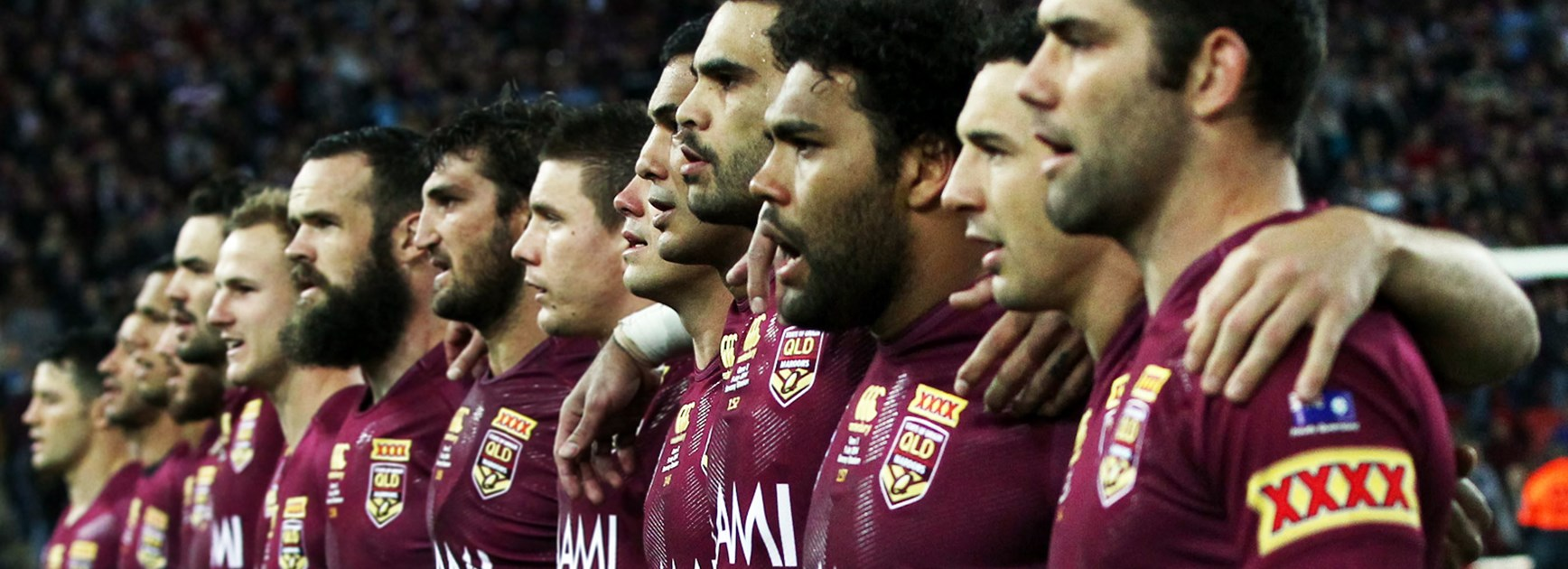 The Queensland Maroons ahead of last year's State of Origin III.