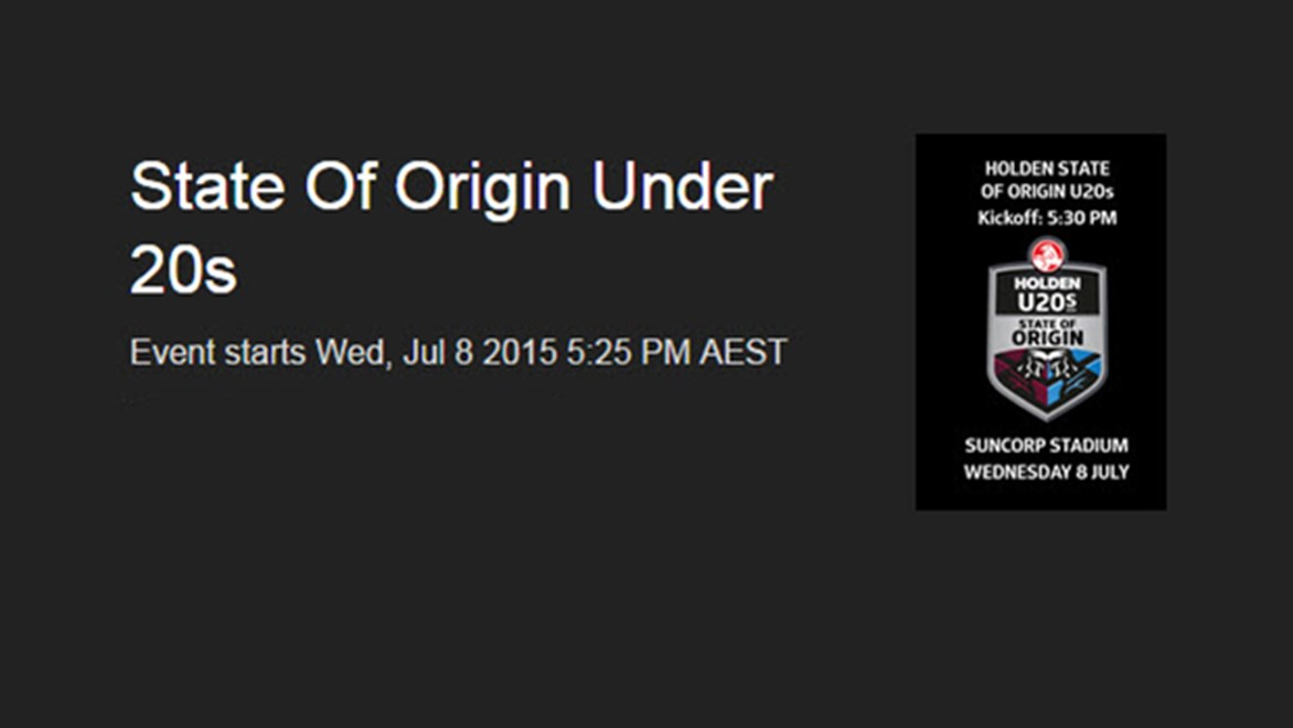 Watch the State of Origin U20s LIVE from Suncorp Stadium.