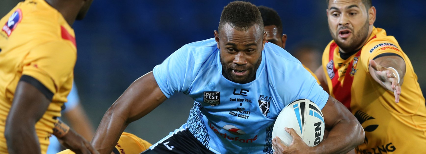 Eto Nabuli in action for Fiji in the Pacific Test against PNG at Cbus Super Stadium.