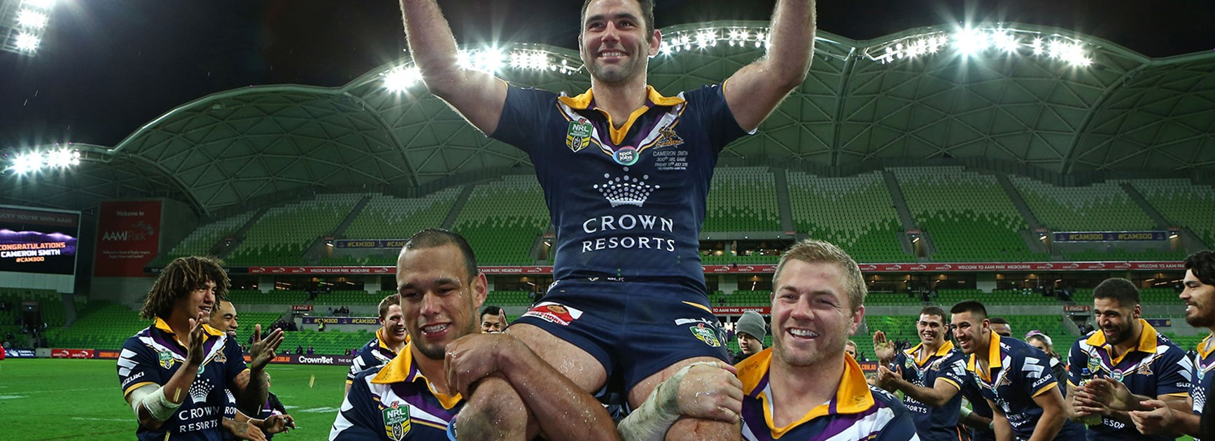 Melbourne Storm captain Cameron Smith celebrates his 300th NRL game.