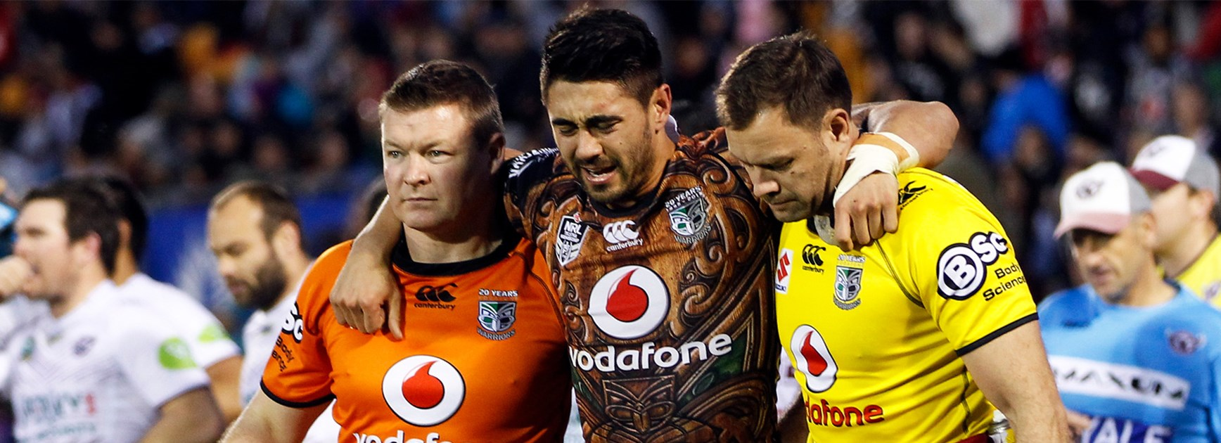 Shaun Johnson leaves the field with an ankle injury in Round 20.