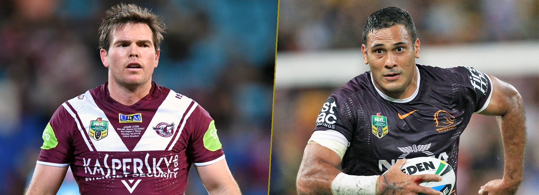 Star centres and rival captains Jamie Lyon and Justin Hodges.