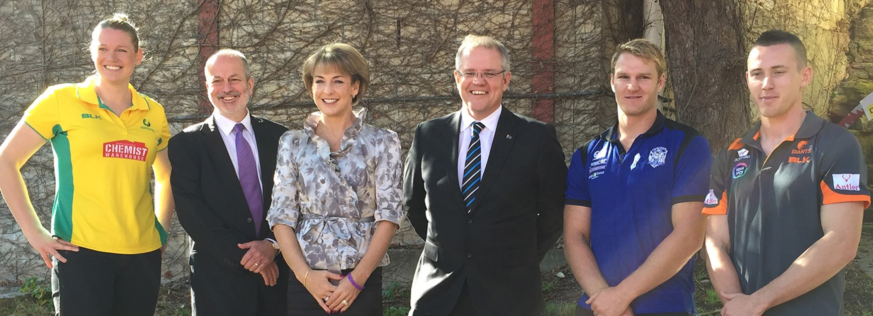 Diamonds' Caitlin Thwaites, Our Watch CEO Paul Linossier, Minister Assisting the Prime Minister on Women Michaelia Cash, Minister for Social Services Scott Morrison, Bulldogs' Aiden Tolman and GWS's Tom Scully.
