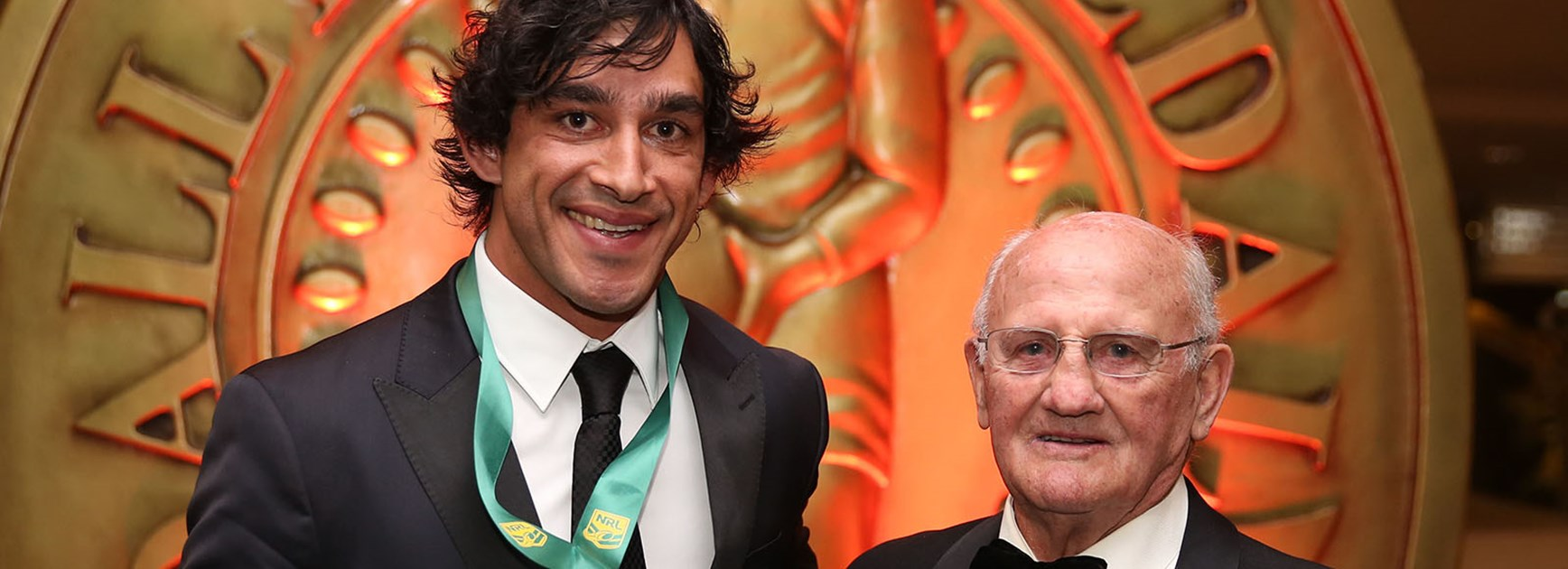 2014 Provan Summons Medal winner Johnathan Thurston with Arthur Summons at the Dally M Medal night.