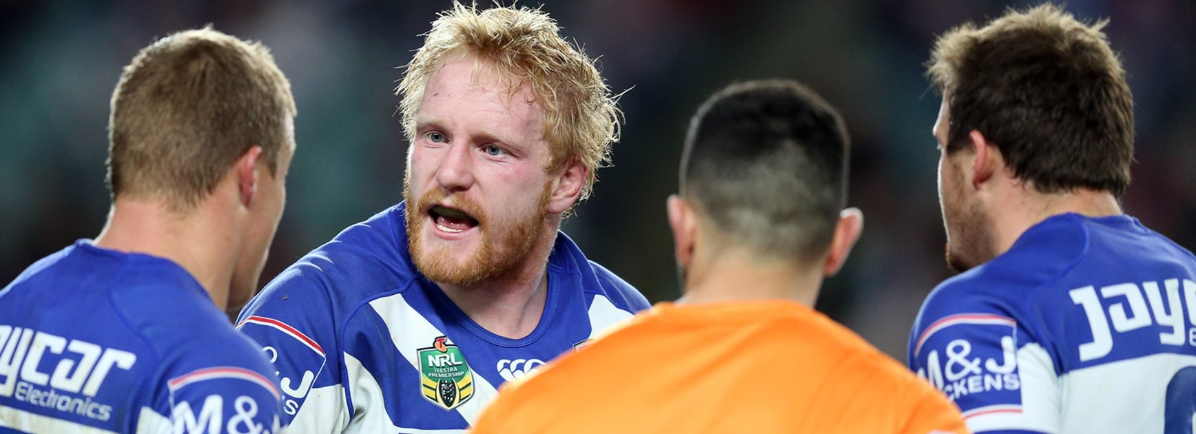 Bulldogs skipper James Graham during his side's Round 21 clash with the Roosters.