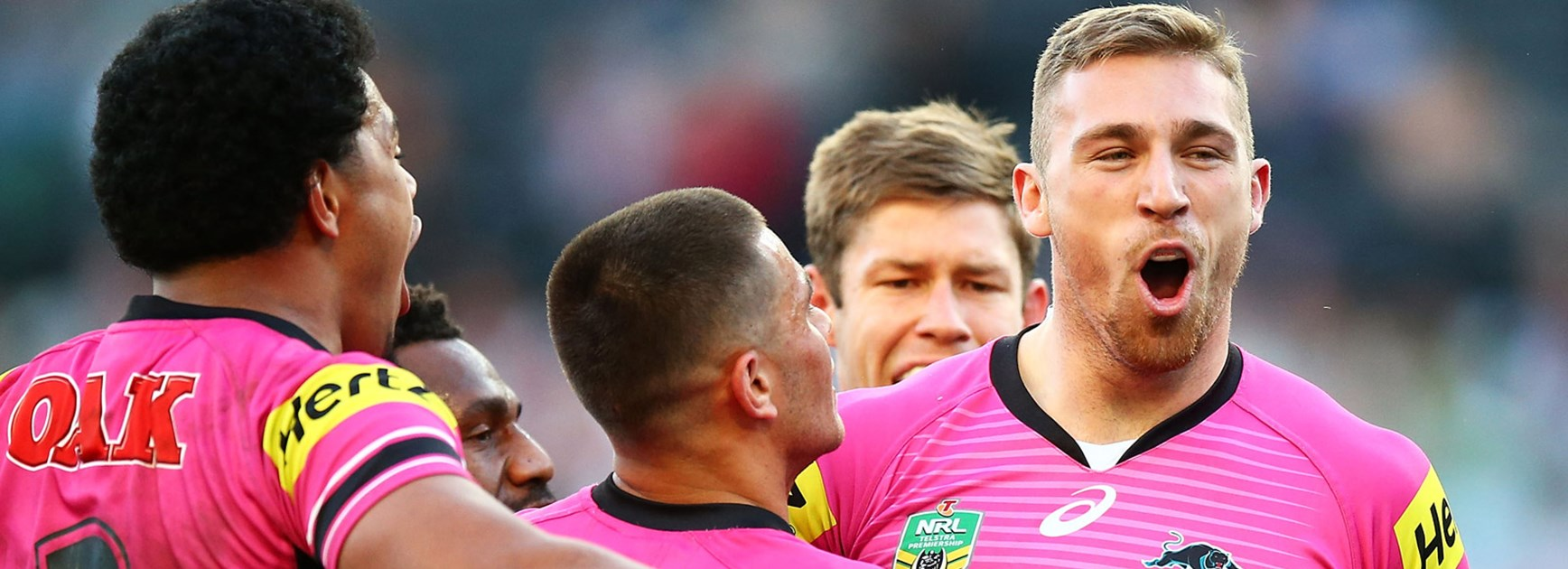 Bryce Cartwright celebrates his try against the Rabbitohs.