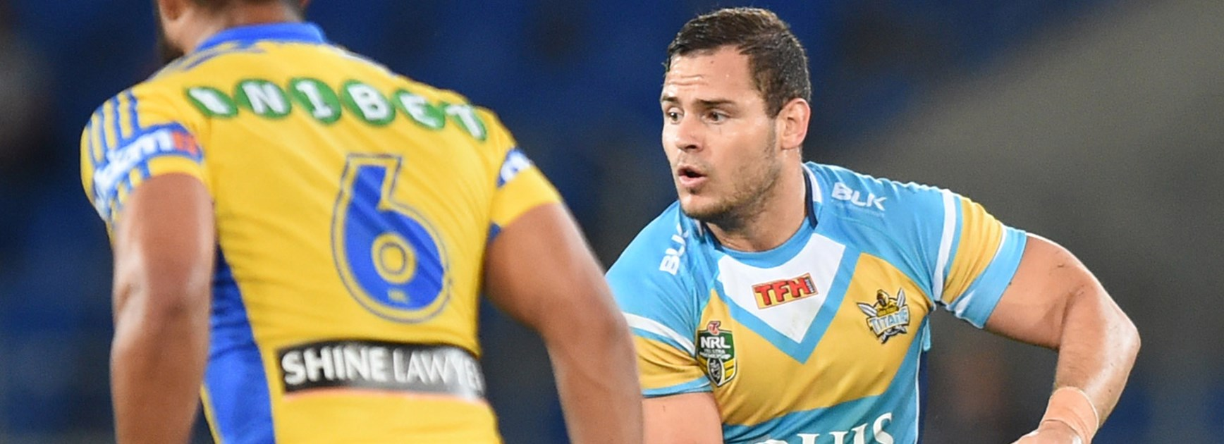 Aidan Sezer makes a run in the Titans' Monday night meeting with the Eels.