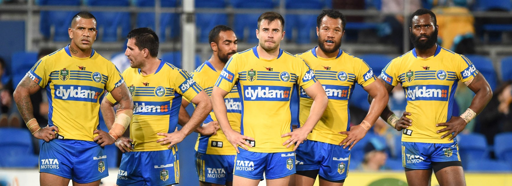 Eels players during their Round 21 loss to the Titans at Cbus Super Stadium.