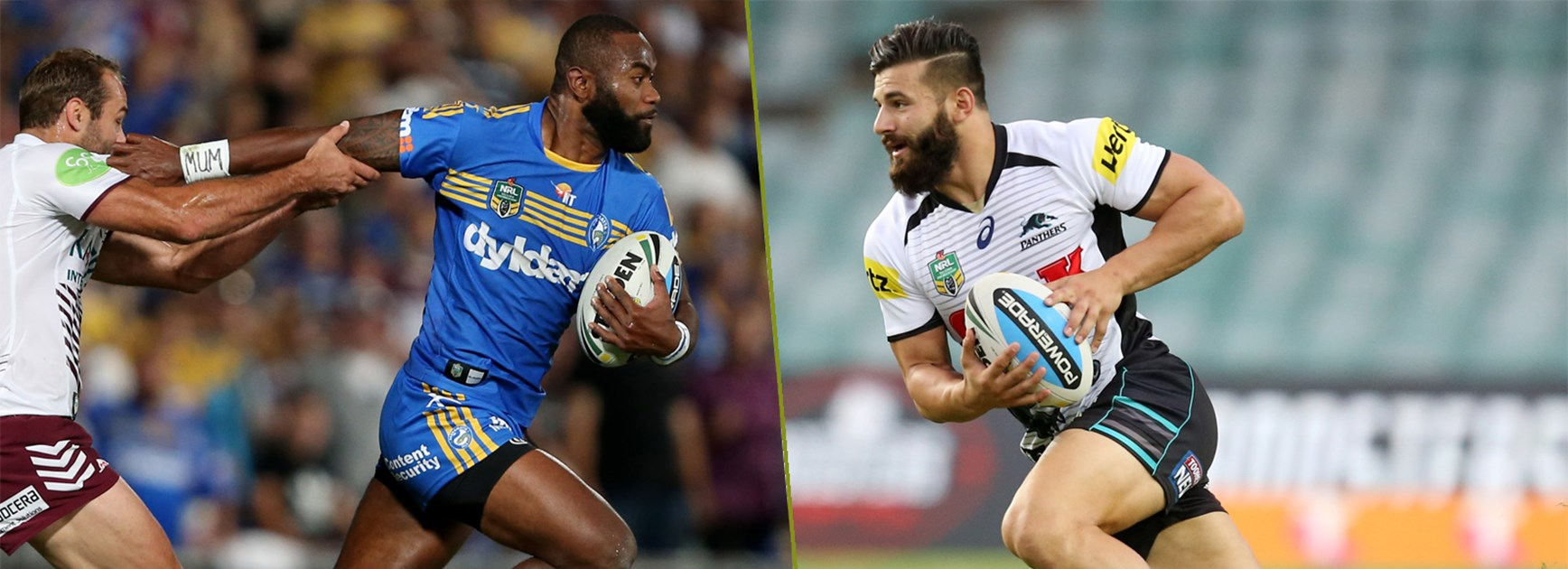Rampaging wingers Semi Radradra and Josh Mansour are two of the hardest men to stop in the NRL.