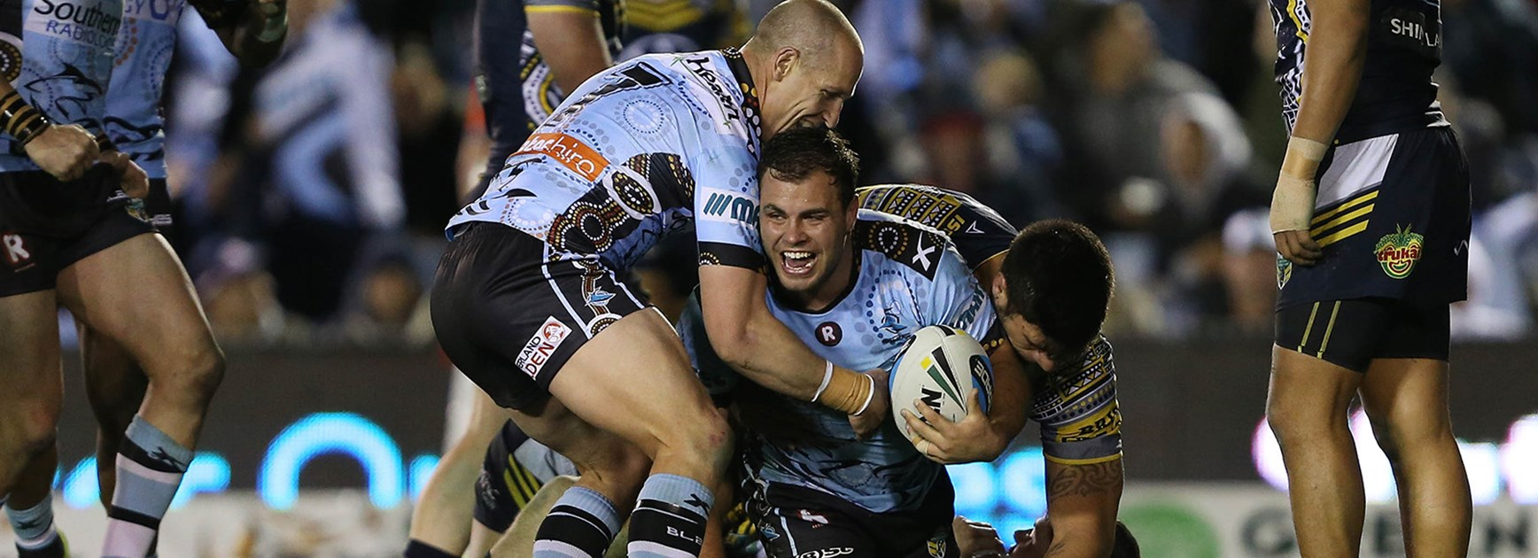 Wade Graham scores his first try of the season for the Sharks in the Round 22 clash with the Cowboys.