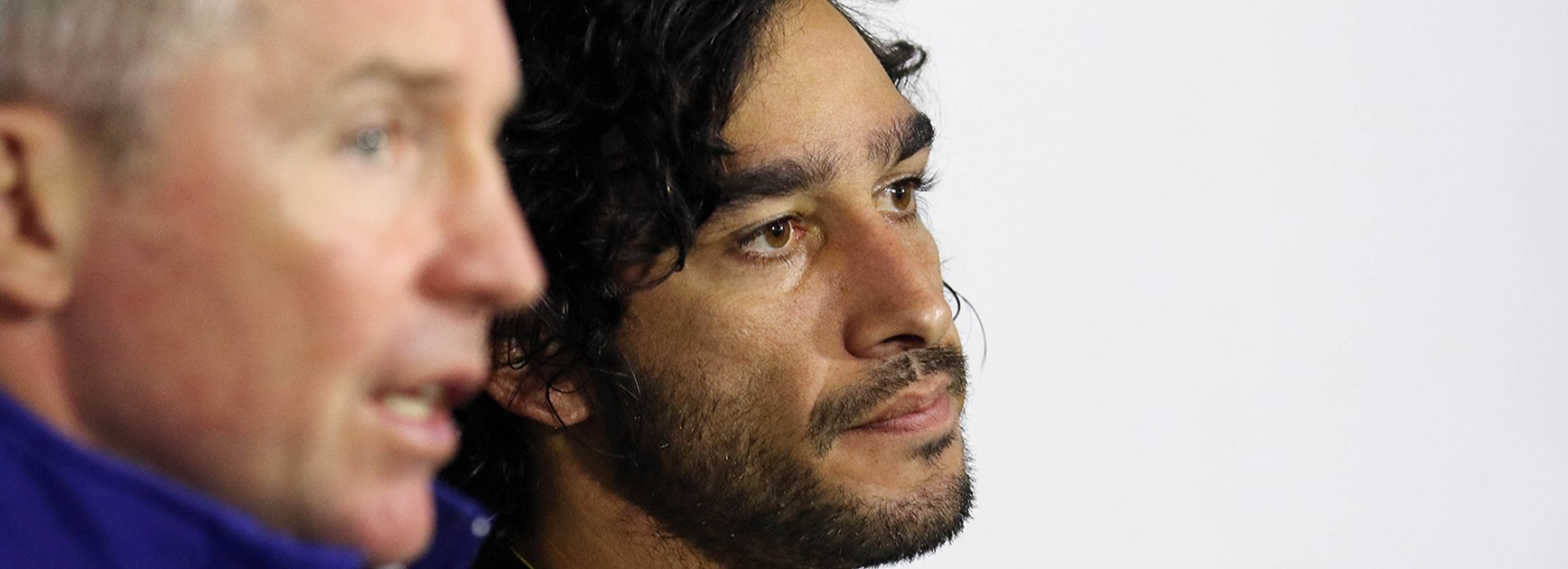 Cowboys coach Paul Green and captain Johnathan Thurston after their Round 22 loss to the Sharks.