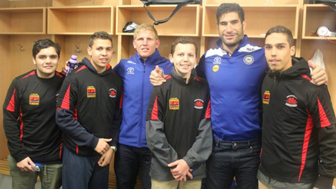 Endeavour Academy formed the guard of honour and met Cowboys players as part of Indigenous Round.