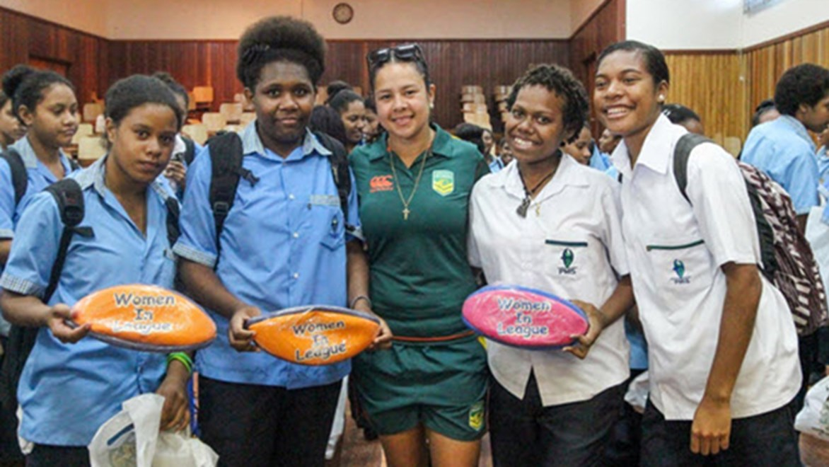Australian Jillaroo Jenni Sue Hoepper visited PNG to promote education, respect and female participation in rugby league.