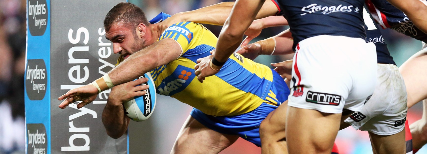 Tim Mannah was the unlikely first try-scorer for the Eels against the Roosters on Saturday night.