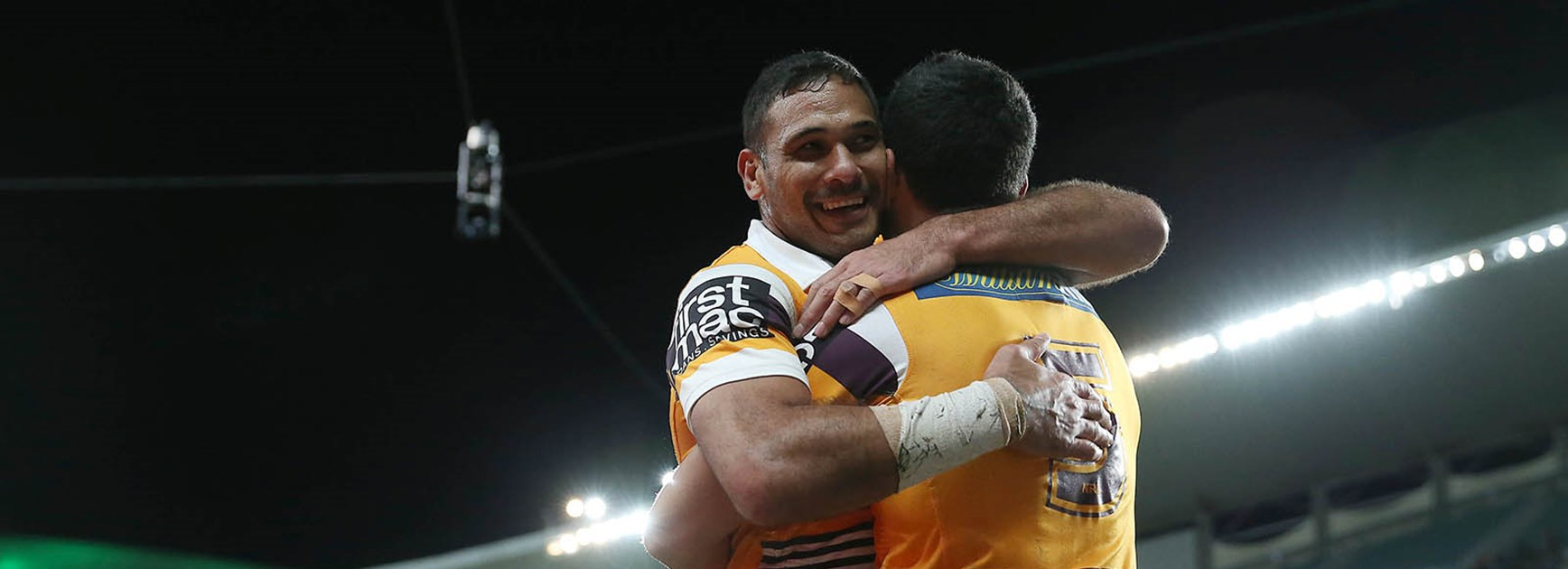 Justin Hodges all smiles after a big win over South Sydney.