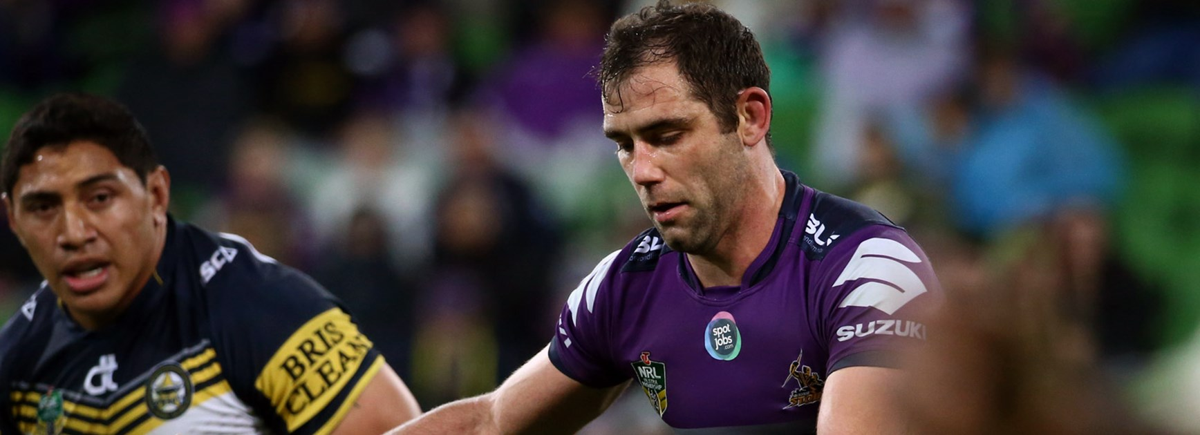 Cameron Smith in action against the Cowboys at AAMI Park.