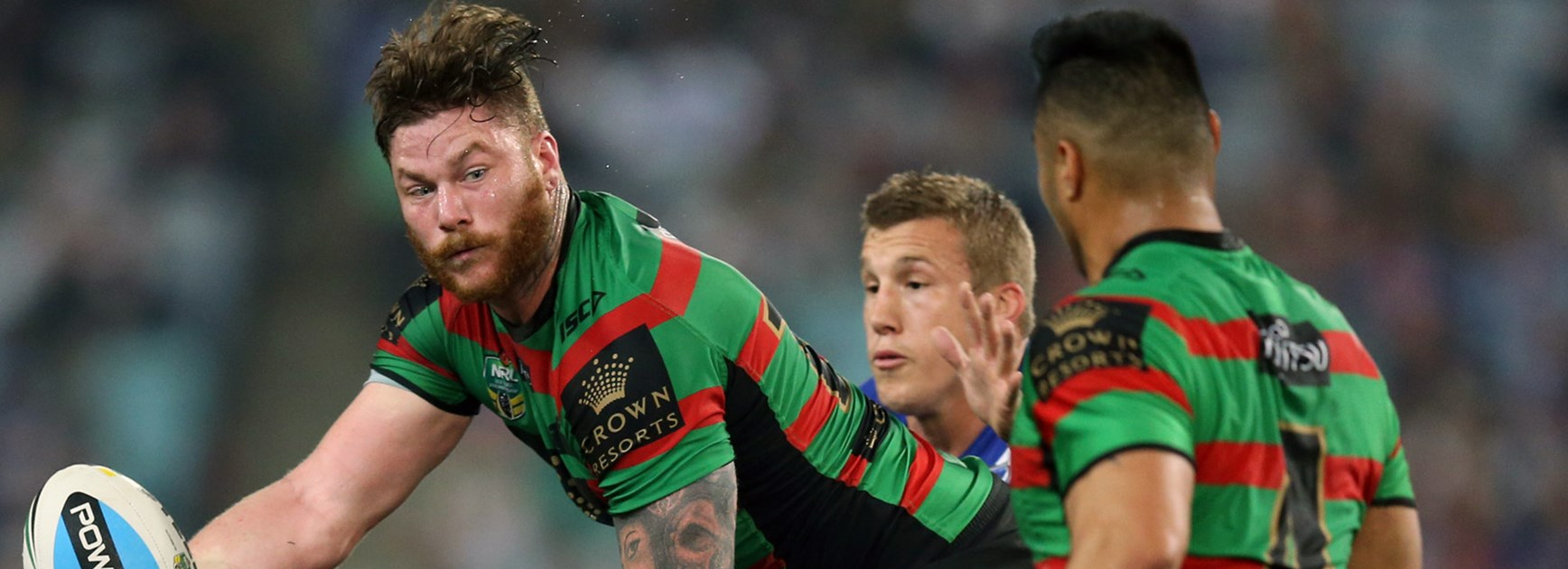 Souths forward Chris McQueen is fired up after missing the side's big loss to the Broncos.