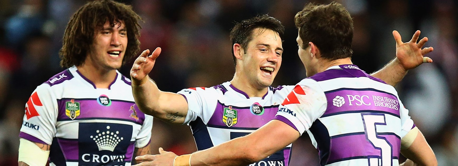 Cooper Cronk celebrates Melbourne's win over the Roosters.