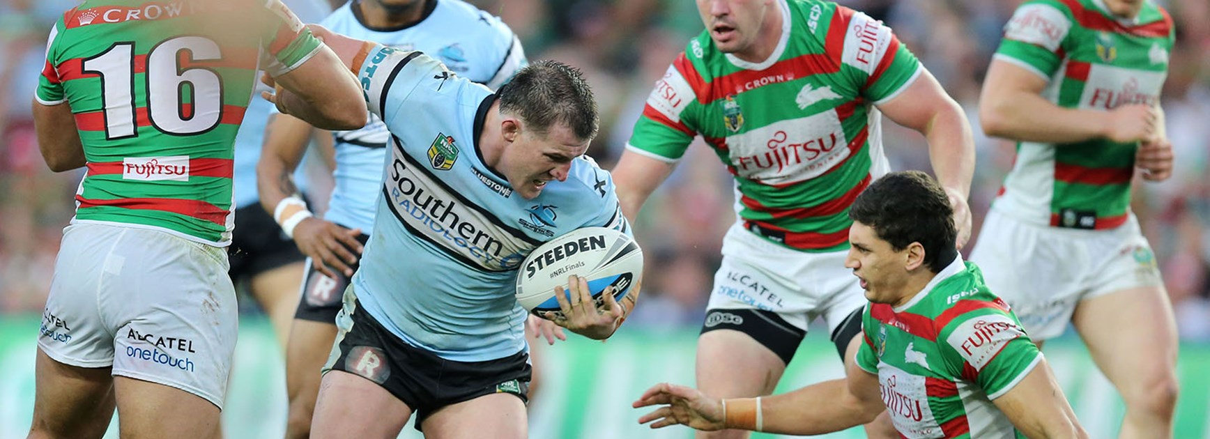 Paul Gallen makes a break straight through South Sydney's defence.