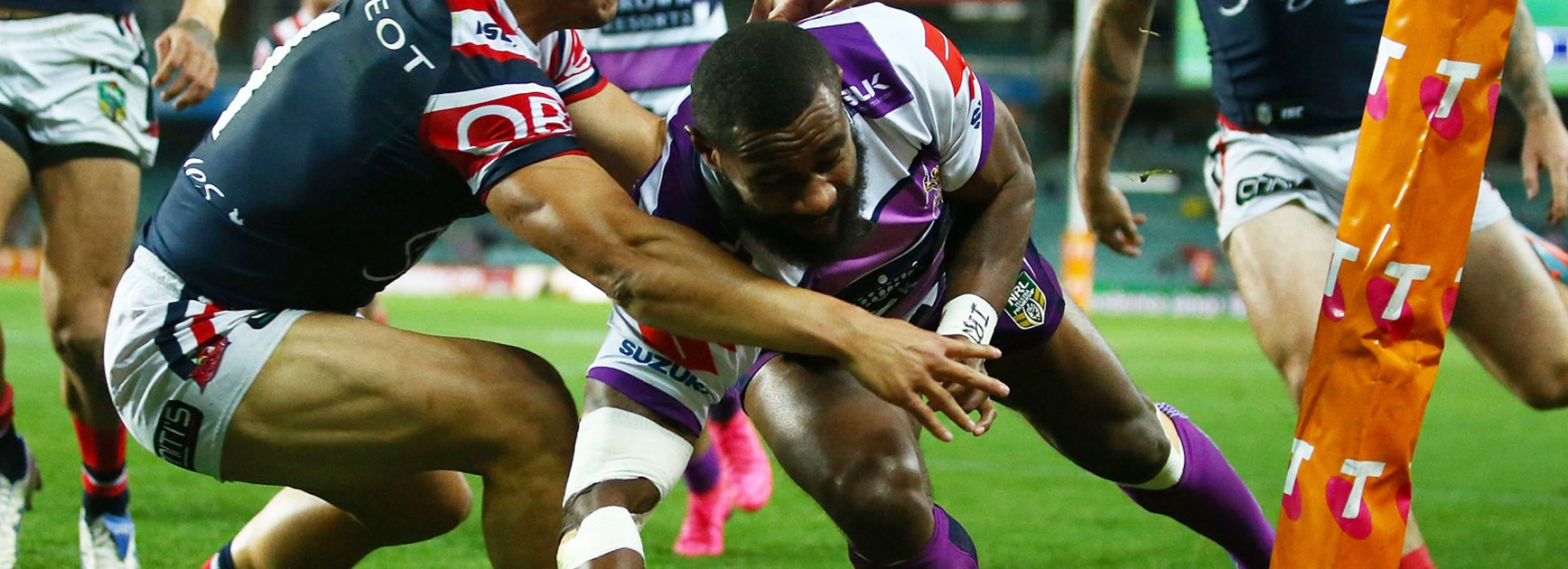 Storm winger Marika Koroibete is touch and go for Melbourne's preliminary final.