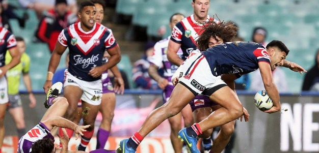 Roosters' left edge content with lacking wide ball