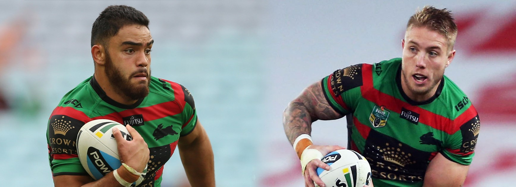 South Sydney's Dylan Walker and Aaron Gray.